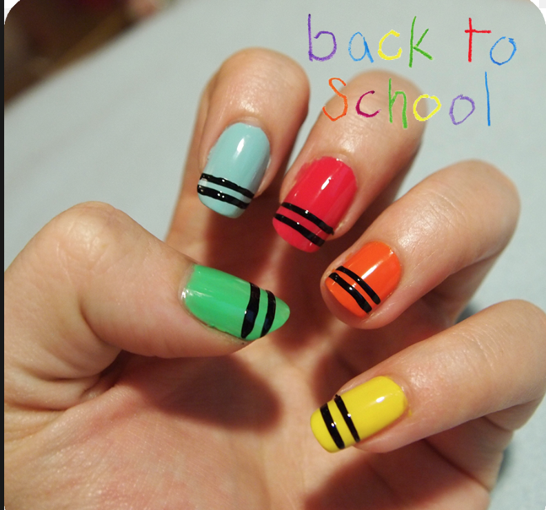 Easy Colourful Crayon Nail Art Nails Pinterest