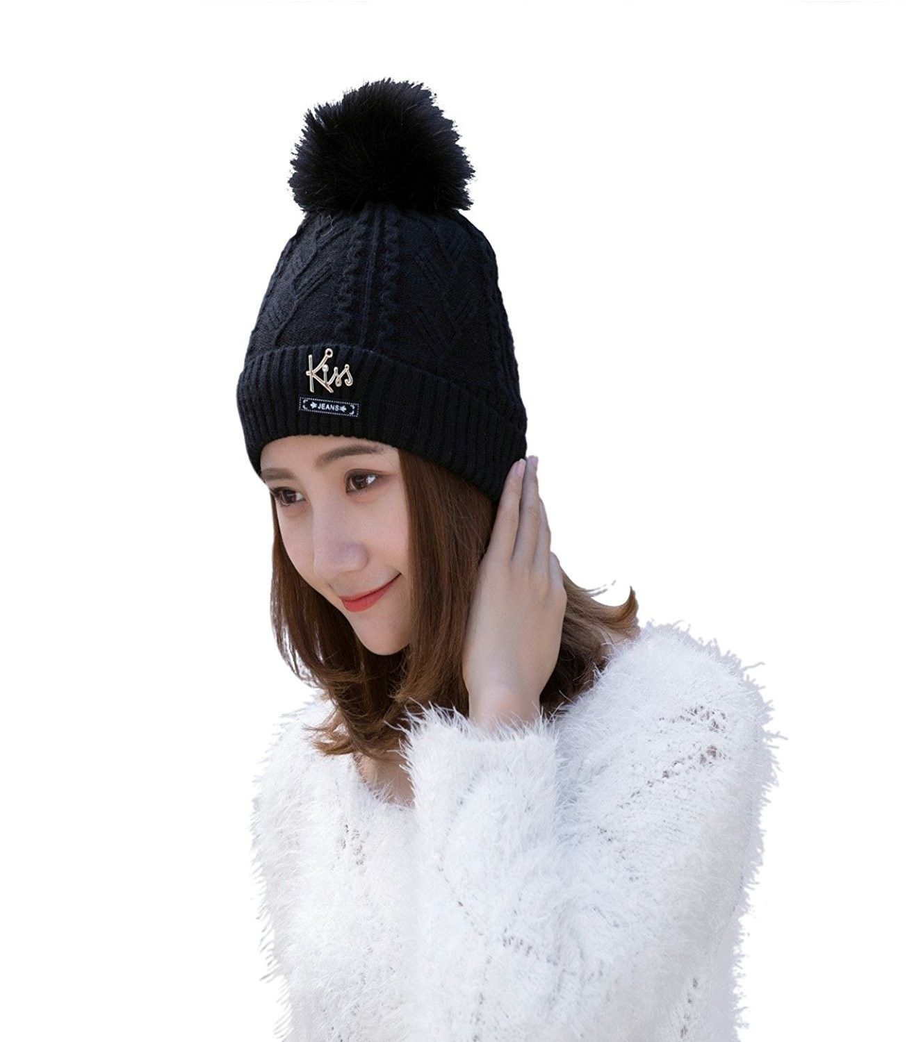 6dfc69ed0df Winter Beanie Hat Scarf Set Warm Knit Hat Thick Fleece Lined Knit Skul Cap  For Men Women - Black-pp - CW187QXN947 - Hats   Caps