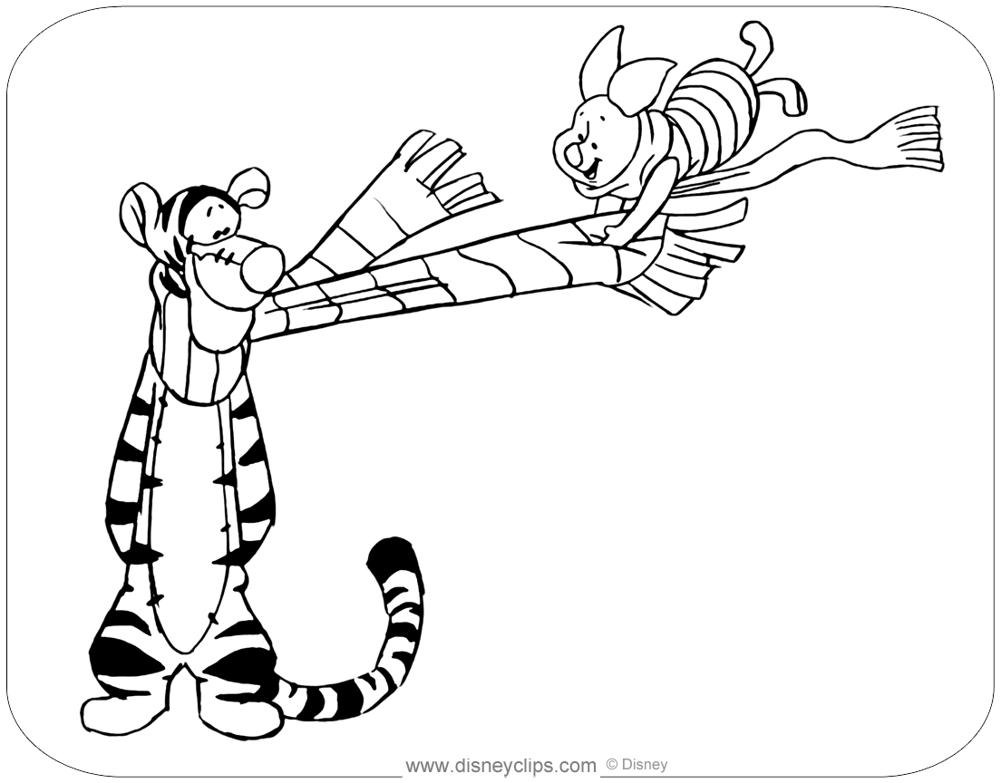 coloring page of tigger and piglet on a