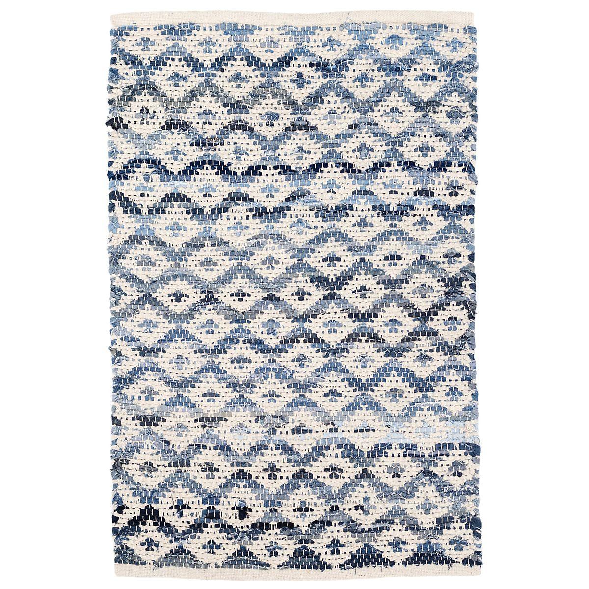 Denim Rag Diamond Ivory Woven Cotton Rug Dash Albert Dash Albert Geometric Rug Wool Area Rugs