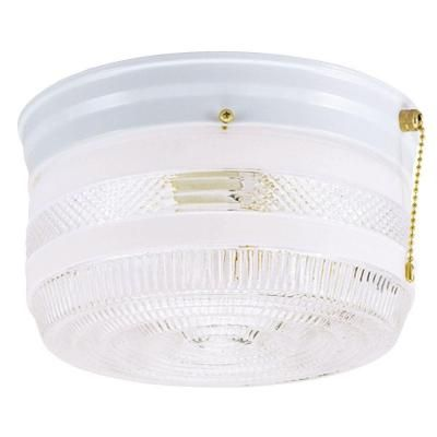 Westinghouse 2 Light Ceiling Fixture White Interior Flush Mount With Pull Chain And White And Clear Glass 6734500 Ceiling Lights Ceiling Fixtures Pull Chain