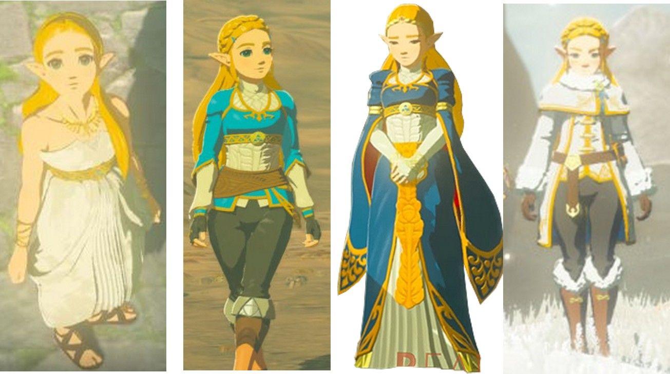 Zelda Breath of The Wild all costumes front view #zelda