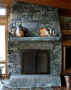 Stone fireplaces and Living rooms