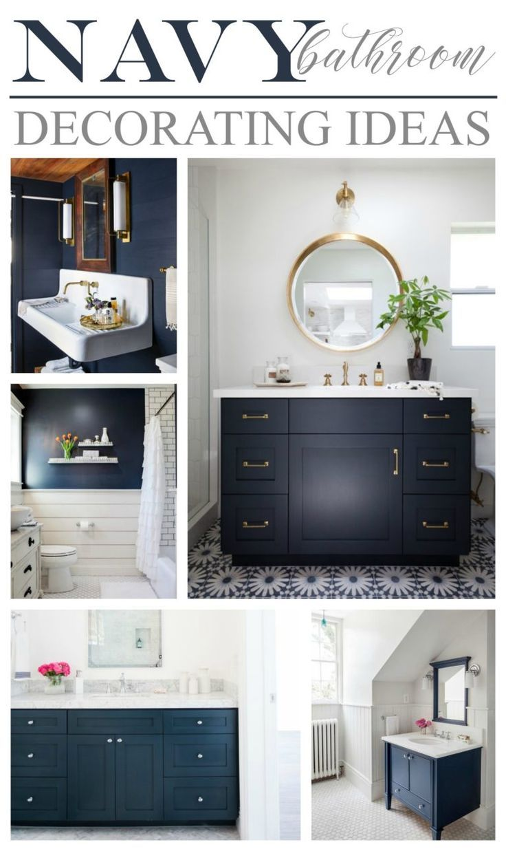 Navy bathroom decorating ideas blue vanity and wall color design