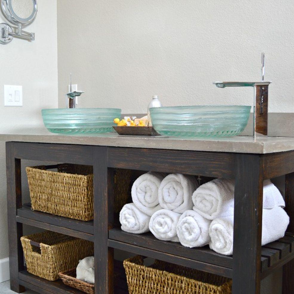 Build An Open Shelf Bathroom Vanity | Pinterest | Open shelves ...