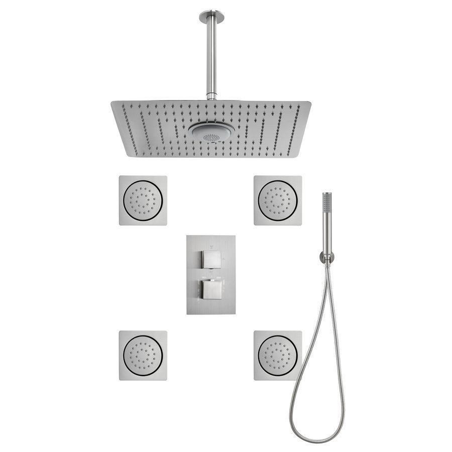 $590 Moorefield 3-Way Brushed Nickel Shower Panel System | Shower ...