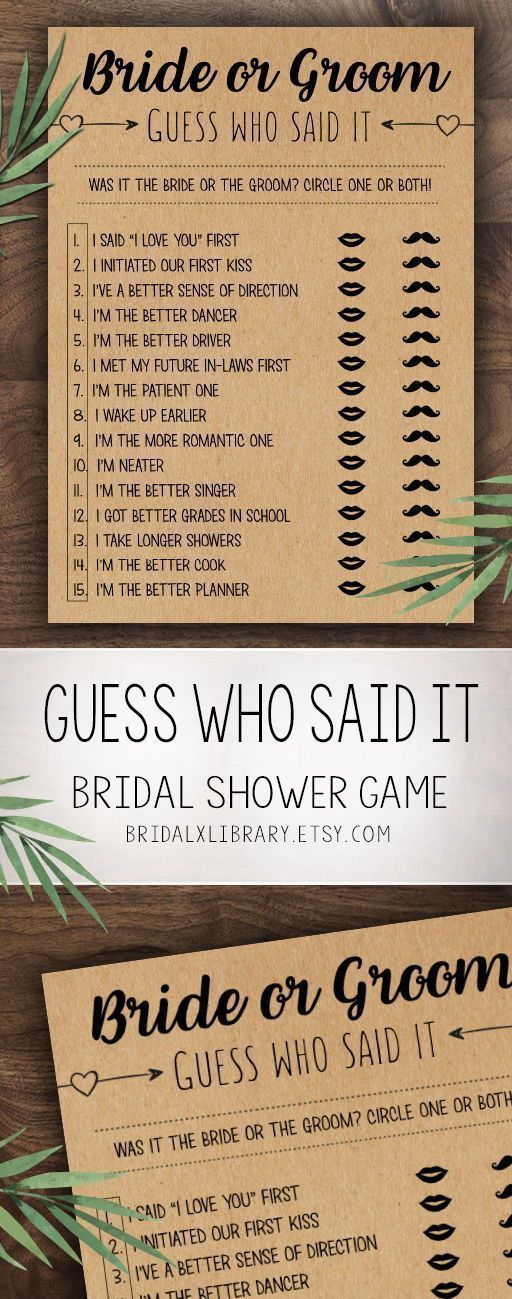 Does She Know Him, Bridal Shower Games Printables, Bridal Shower Game Idea, Bridal Shower Instant Download, Wedding Game, Kraft Paper #bridalshowerdecorations