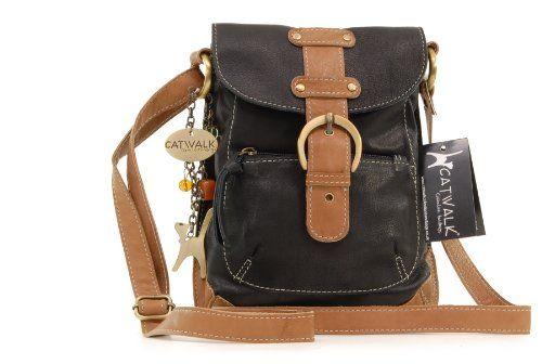 Catwalk Collection Leather Messenger Bag Jo Black Tan Handbags