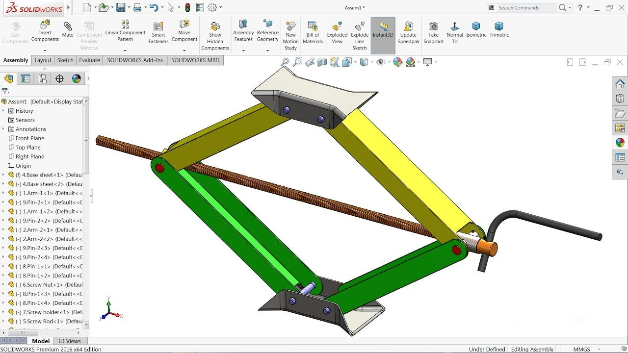 Solidworks Tutorial Design And Assembly Of Car Jack In Solidworks So Solidworks Tutorial Solidworks Car Jack