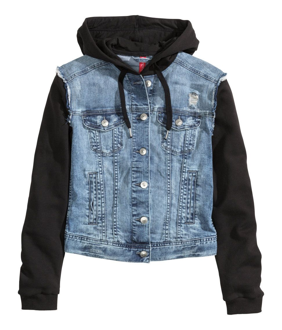 Material-blocked hooded jacket with blue distressed denim ...