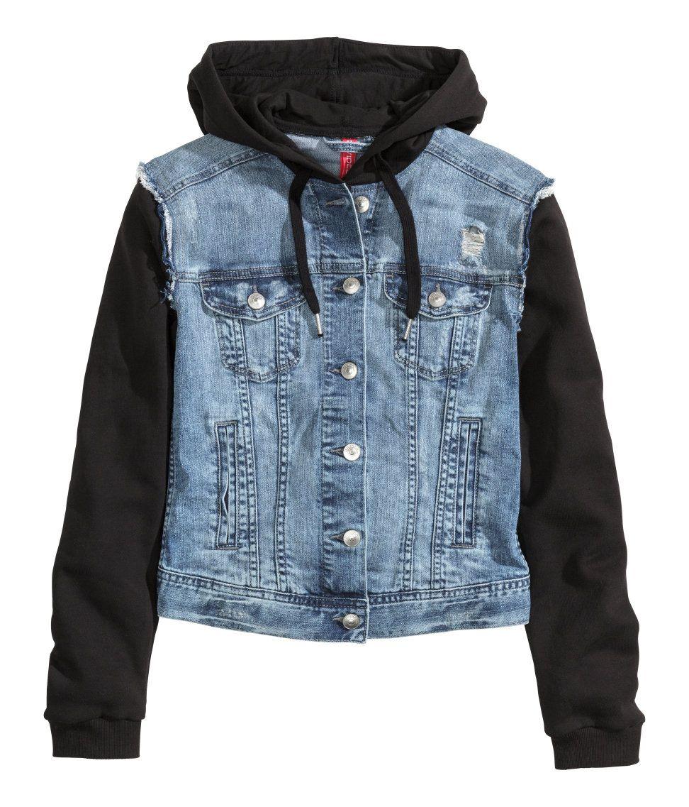 H M Hooded Denim Jacket 25 Hooded Denim Jacket Denim Jacket Distressed Denim Jacket