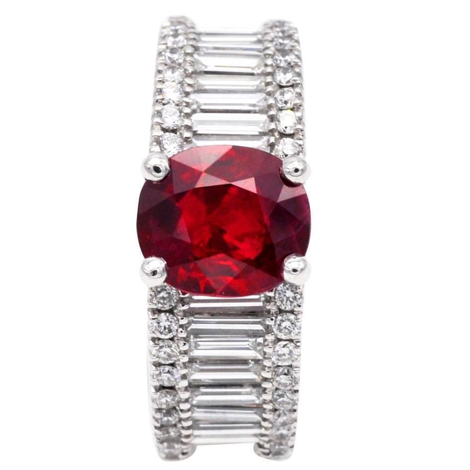 2.36 Carat Ruby Diamond Gold Engagement Ring