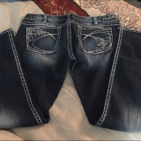 "Silver ""Tuesday's"" 33 X 31 Also bought on another web site and they were too small. Very cute. Excellent condition Silver Jeans Jeans Skinny"