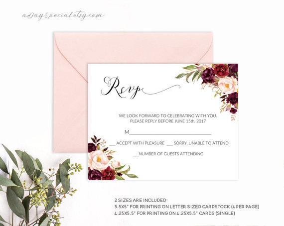 Burgundy Rsvp Card Template Printable Floral Wedding Rsvp Etsy Wedding Details Card Wedding Direction Cards Wedding Reception Cards