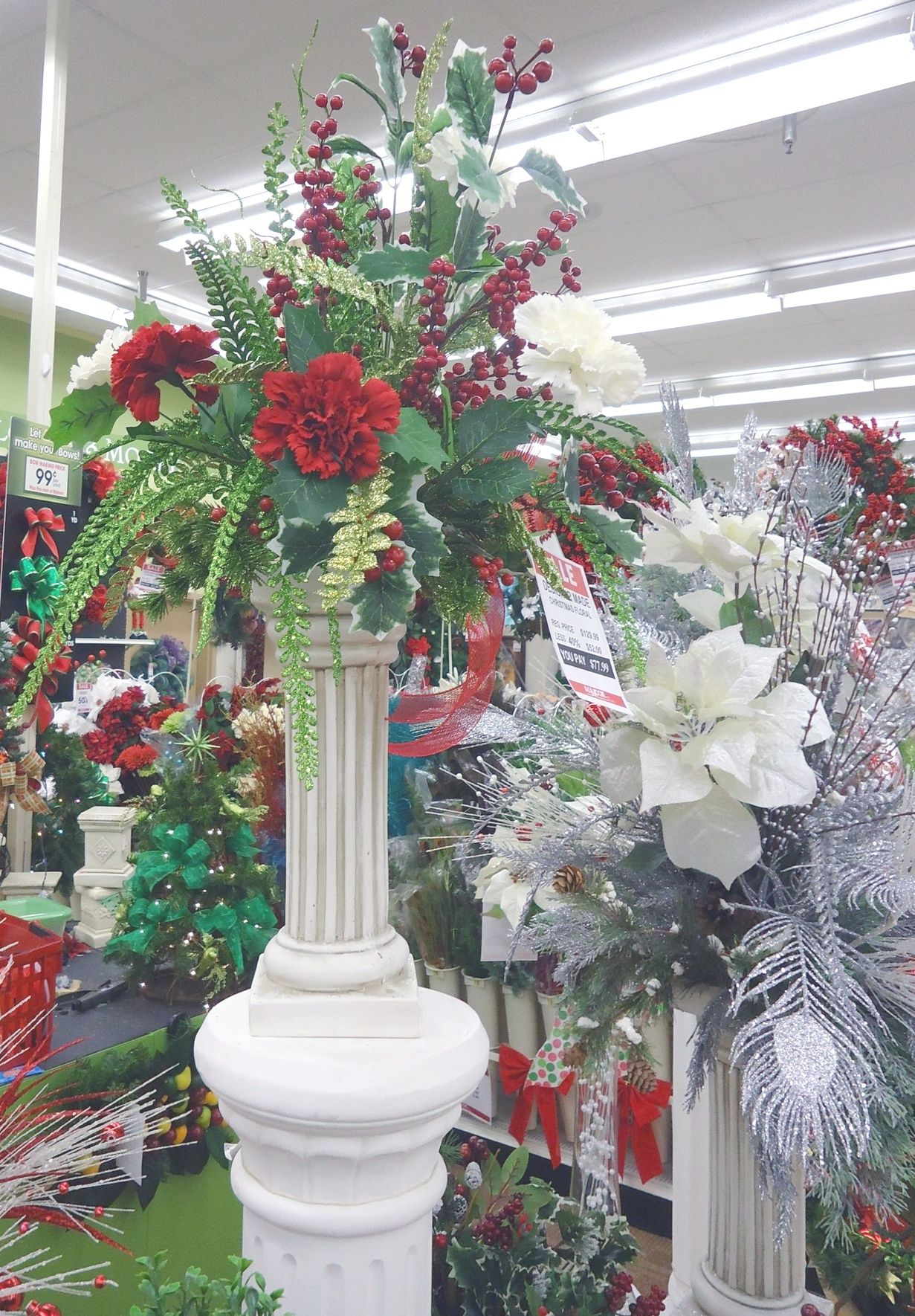 Holiday pillar arrangement a c moore montgomeryville pa for Ac moore and crafts