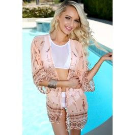 2936f4f882 Sexy Peach Floral Print Sheer Swimsuit Cover Up | clothing | Sheer ...