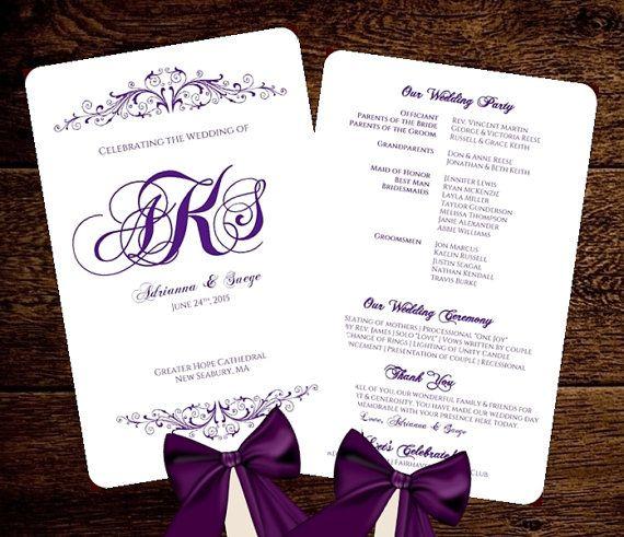 Wedding FAN Program Template Purple Monogram By