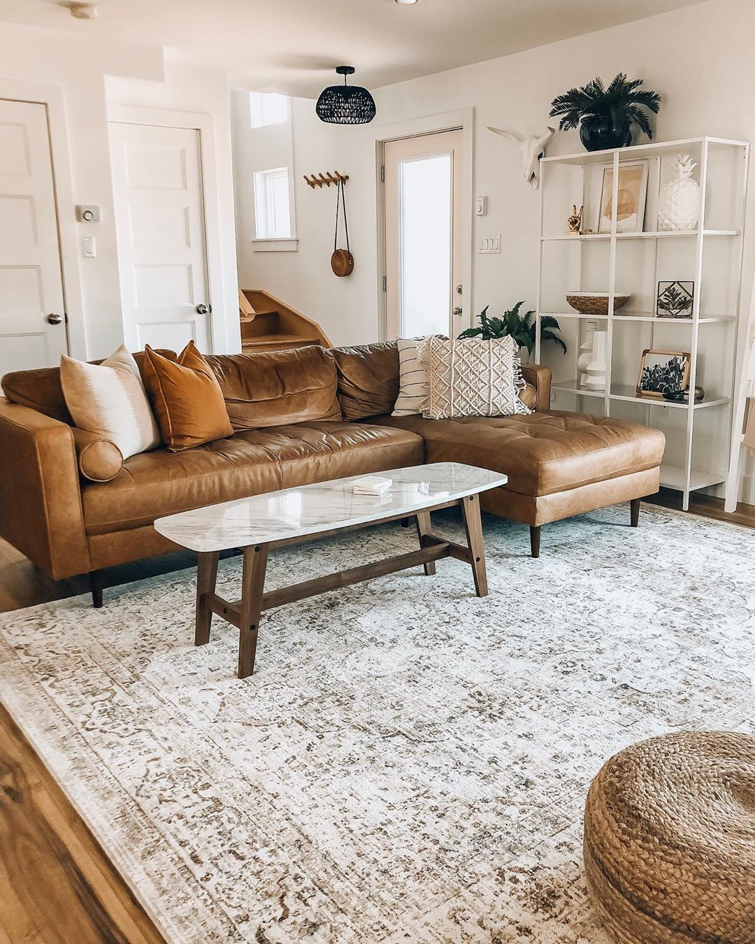 Loloi Rugs On Instagram The Revere Rug Playing Nicely With That Tan Sofa Well Done Boneil Leather Couches Living Room Tan Sofa Living Room Tan Living Room