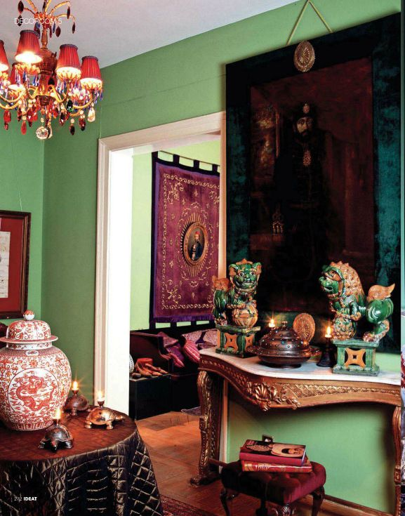 Bohemian Style Living Room Uses A Lovely Shade Of Green And Burgundy Wine Accents Red Is A Complem Burgundy Decor Bohemian Style Living Room Living Room Green #wine #color #living #room
