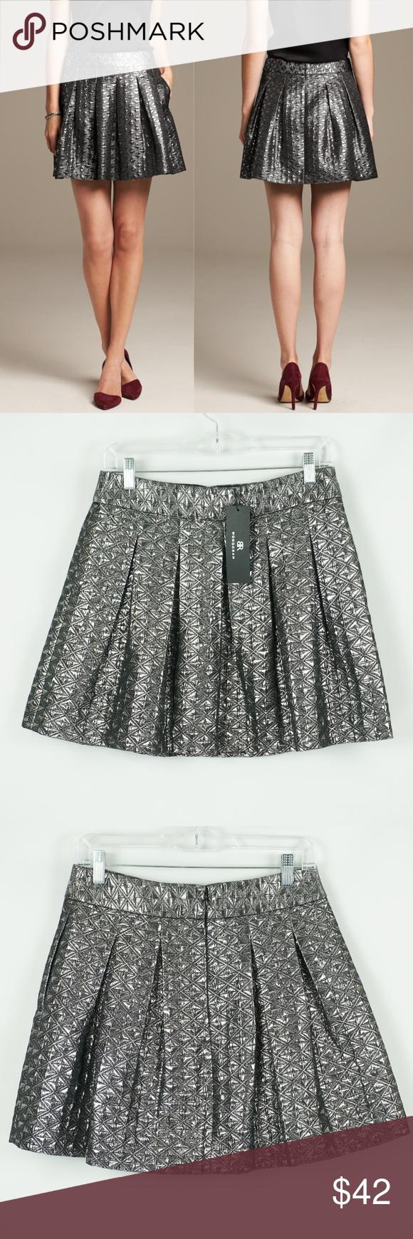Br Monogram Metallic Shine Box Pleat Skirt Size 6 Nwt Clothes Design Box Pleat Skirt Womens Skirt