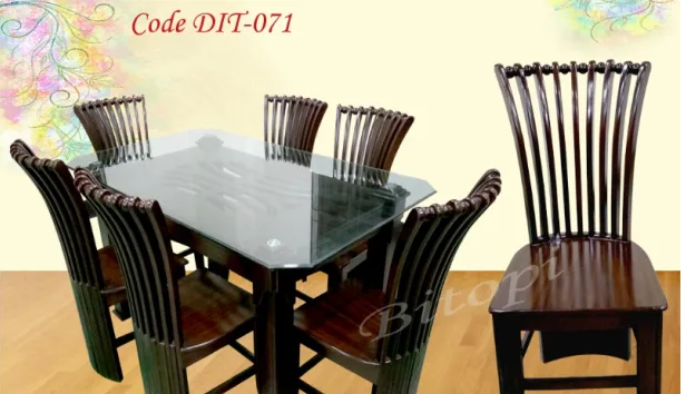 Model Dit 071 Smart Dining Table Table With 6 Chair 10 Mm Glass Price 24990 Material S Malaysian Processing Wo Dining Table Home And Living Dining