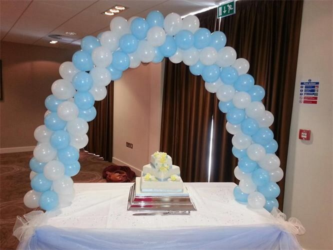 Blue And White Cake Table Balloon Arch Balloon Arch Birthday Decorations Girly Party Ideas