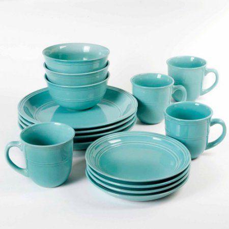 Mainstays 16 Piece Round Dinnerware Set Blue Products