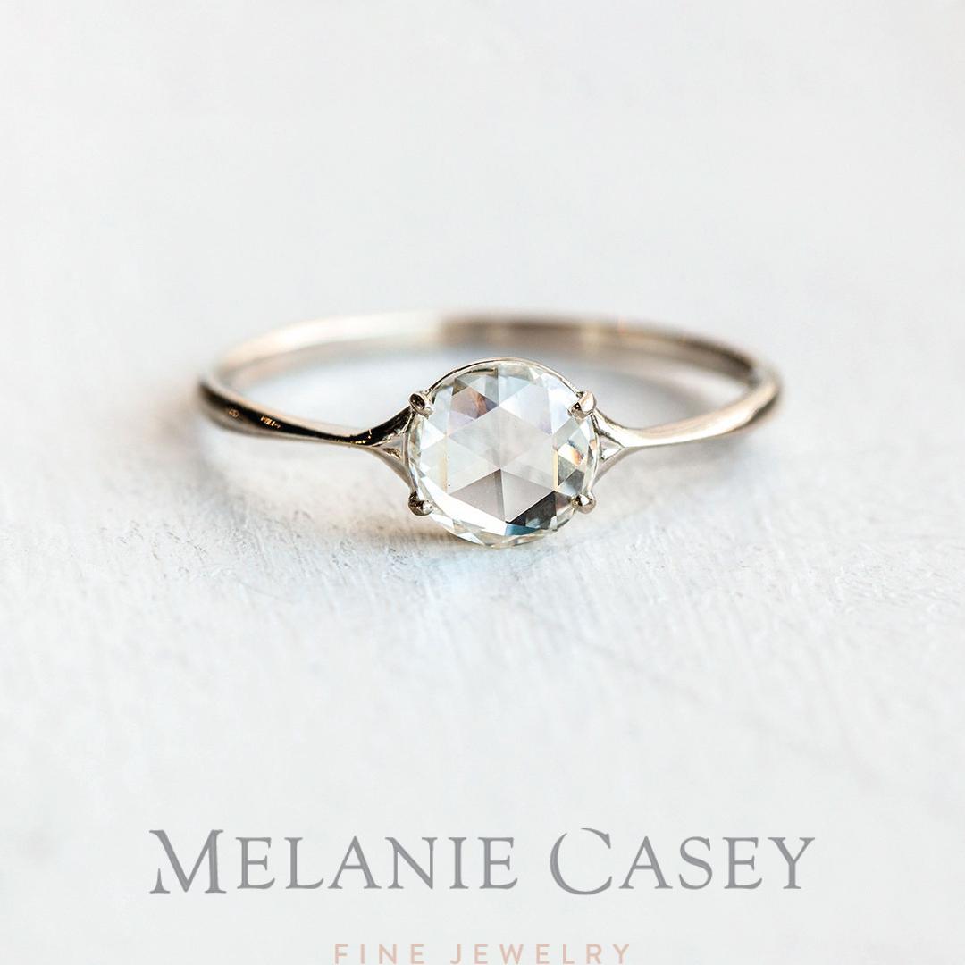 Moissanite Wedding Engagement Ring Unique 14k Yellow Gold