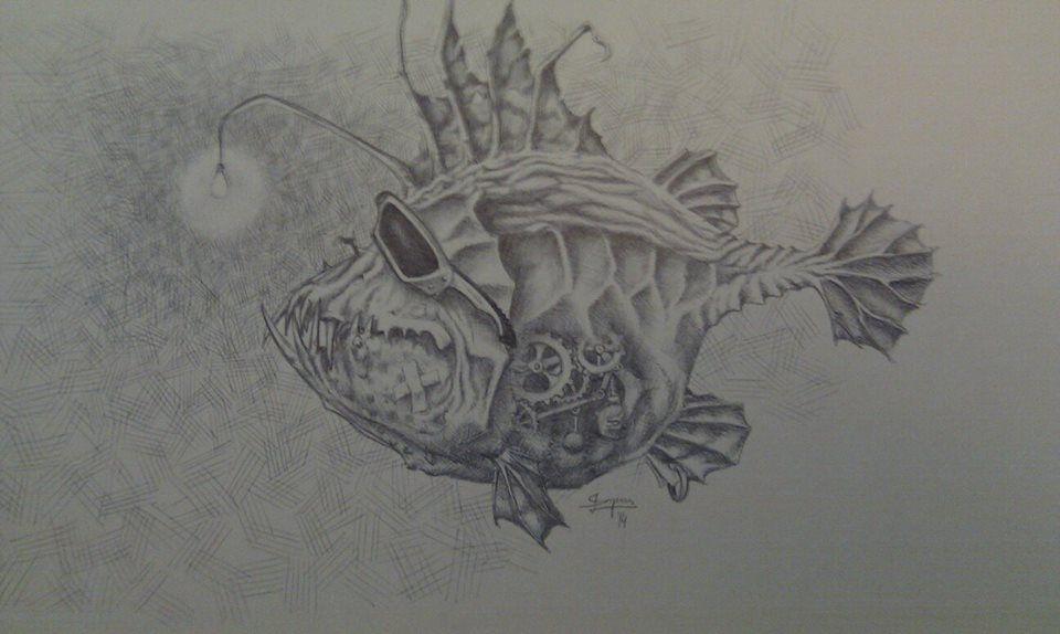 Deep Sea Water Fish Tattoo Graffite Quadrado