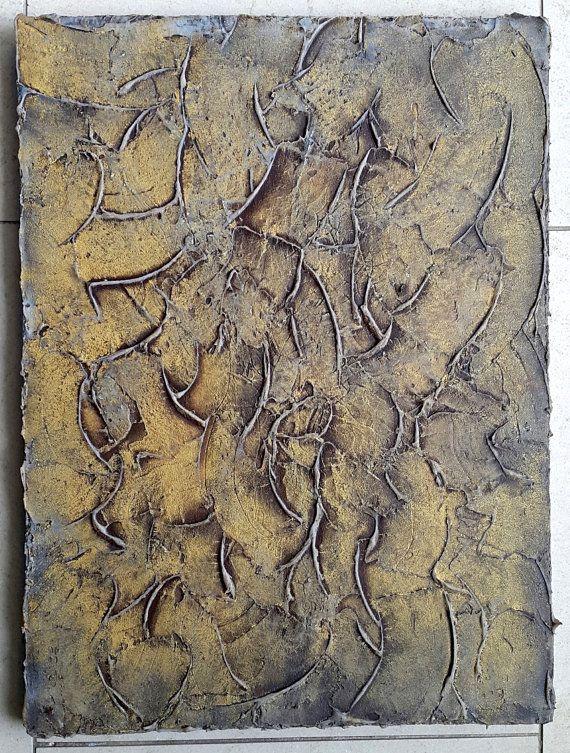 Leinwand Acrylbild 40 x 30 x 2 Fels Stein Gold von BeGehrLich