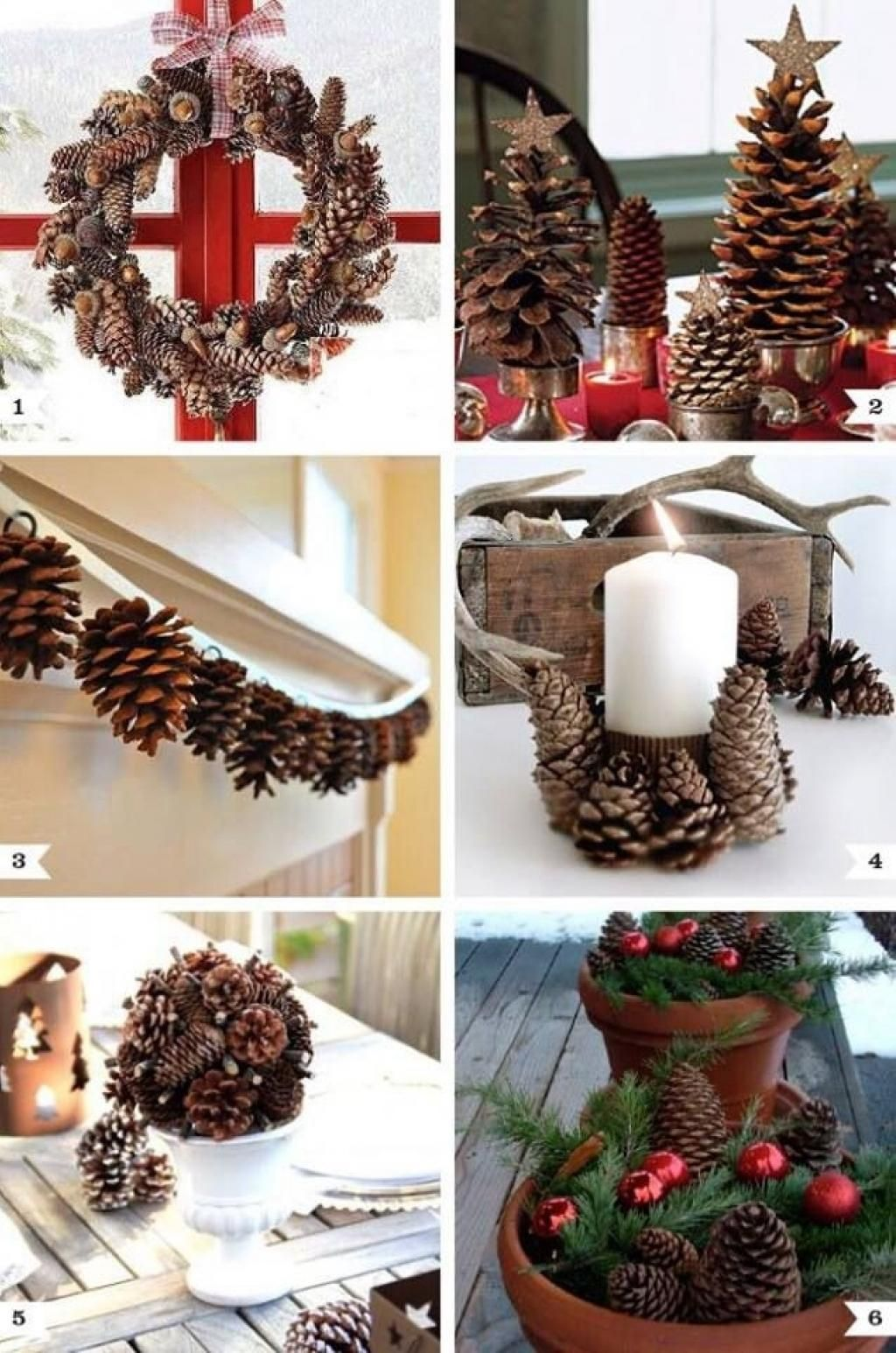 Christmas decoration with candles that spins - Pine Cone Decor Ideas For Christmas