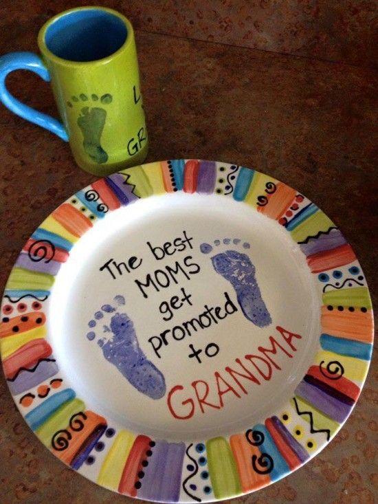 The Best Moms Get Promoted to Grandma Ceramic Plate & Ceramic Handprint Art Easy DIY Video Instructions | Ceramic plates ...