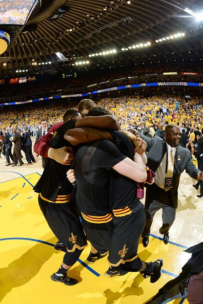 The Cleveland Cavaliers celebrate after winning Game Seven of the 2016 NBA  Finals against the Golden State Warriors on June 19 2016 at ORACLE Arena. 4d32a520c