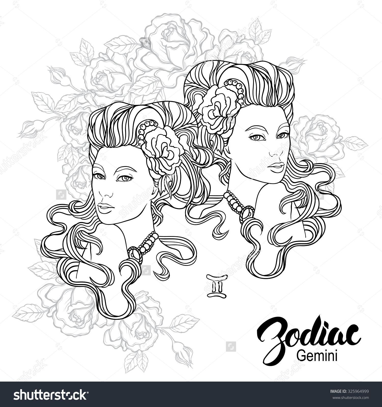 Zodiac Gemini Girl Coloring Book Page Shutterstock