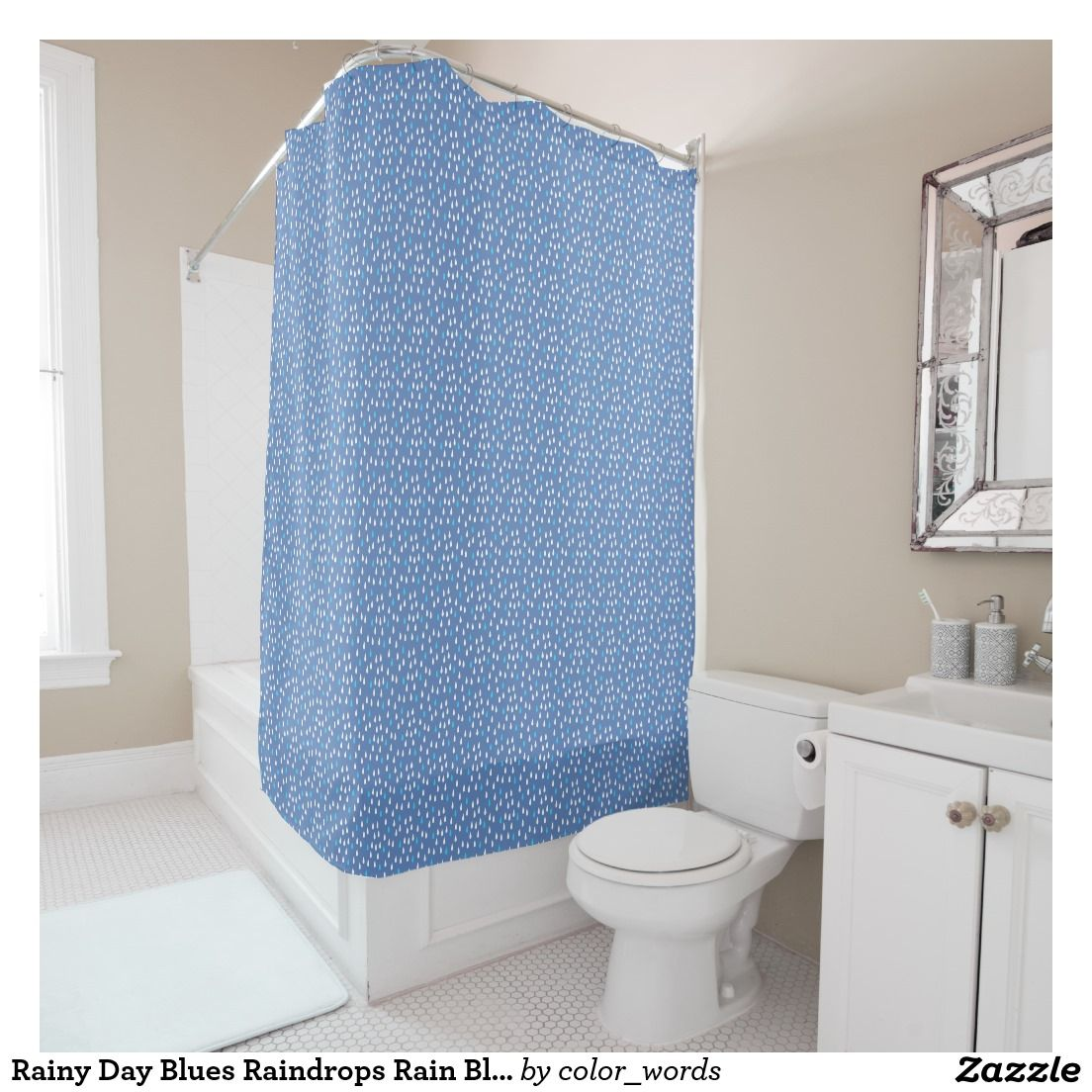 Golden Stars Shower Curtain in Periwinkle