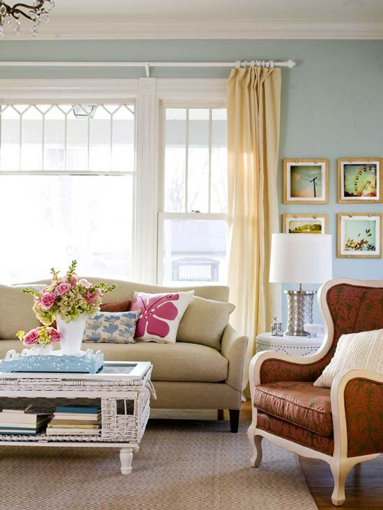 Fresh Family Living Space. Yellow CurtainsGold ...