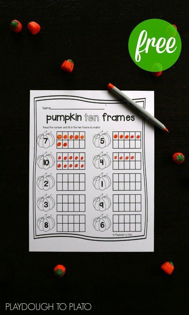 Pumpkin Ten Frames | Ten frames, Math activities and Maths