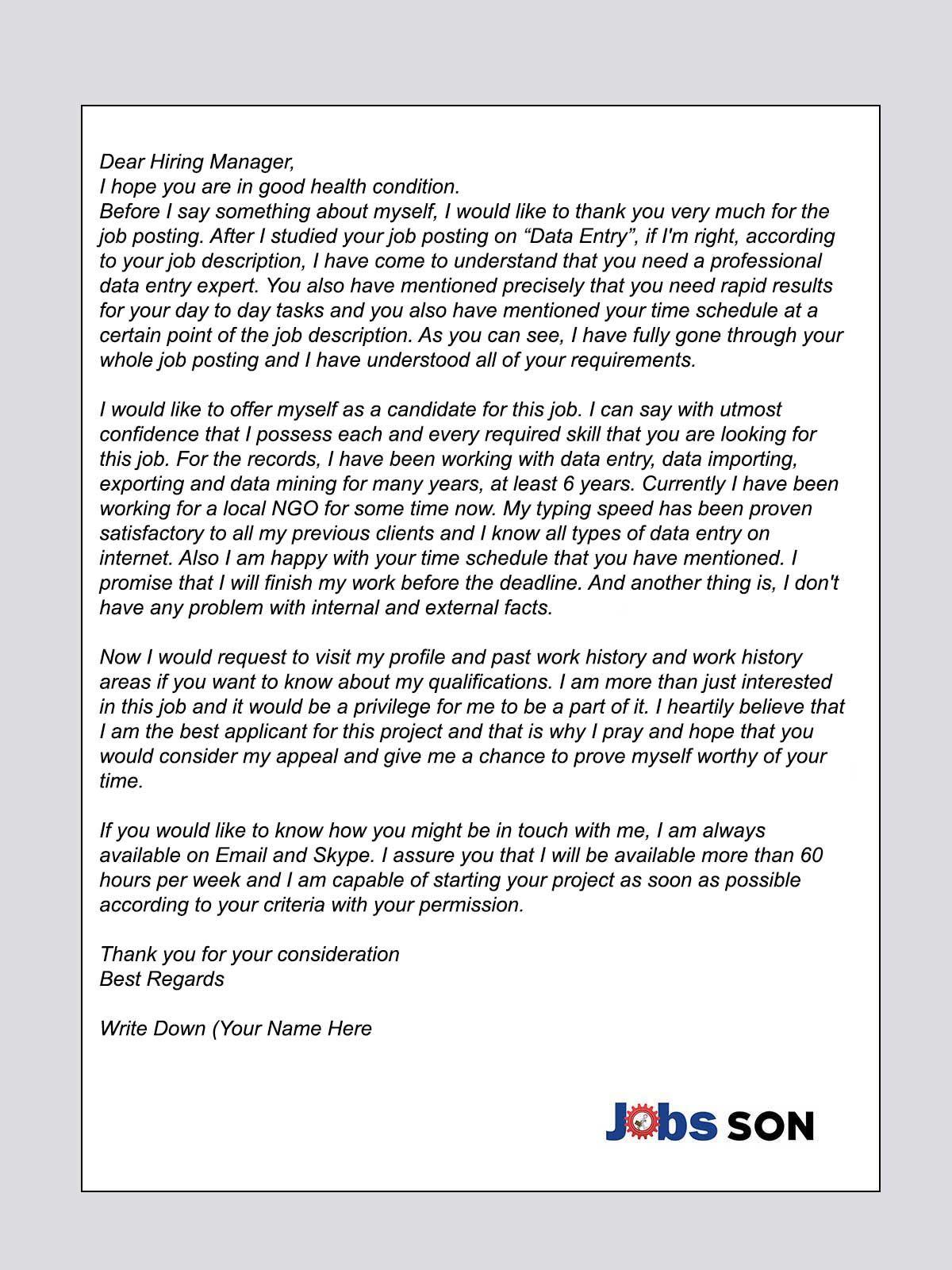 Upwork Proposal Cover Letter For Data