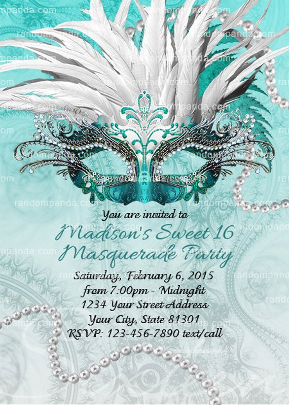 Teal Masquerade Ball Invitation Sweet 16 Party Quinceanera Invite