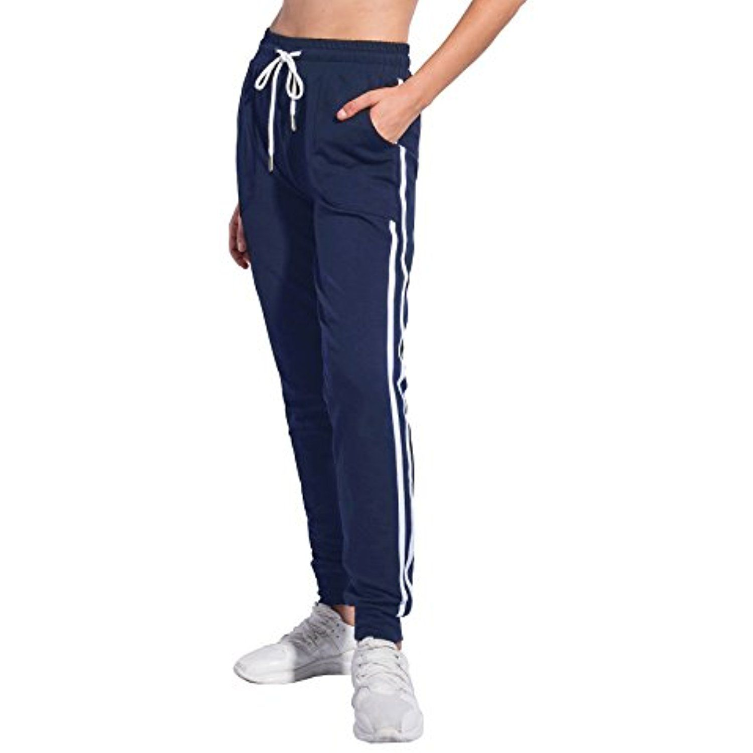 83c2fe223423 PULI Women s Drawstring Waist Cuffed Fitness Sports Gym Running Athletic  Workout Leggings Jogger Sweatpants With Pockets