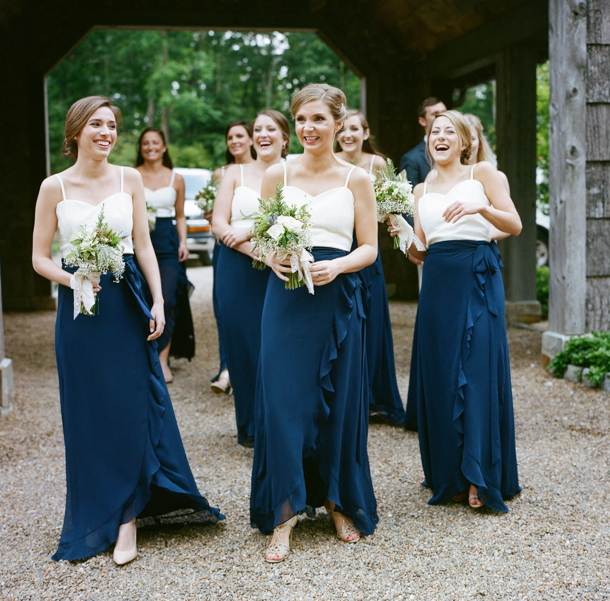 Two piece navy and white joanna august bridesmaid dresses two piece navy and white joanna august bridesmaid dresses ombrellifo Gallery
