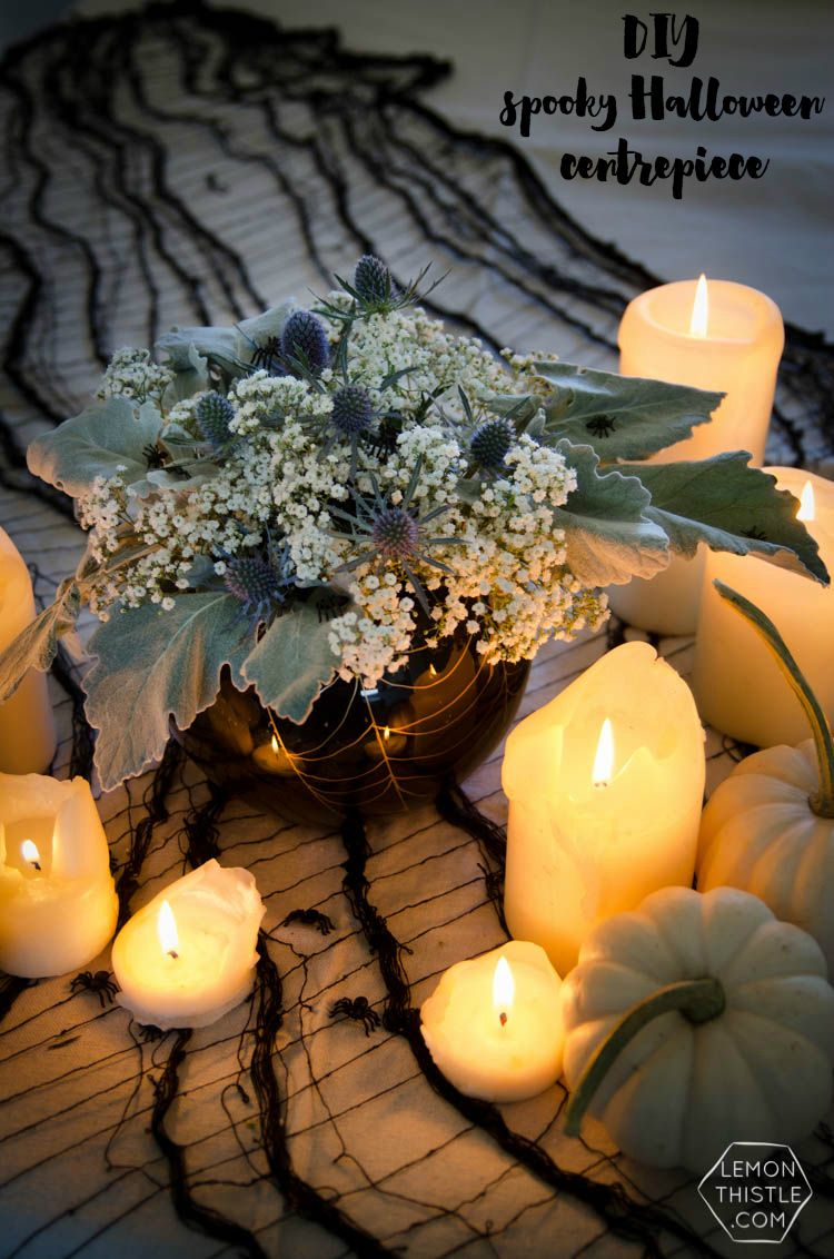 DIY Spooky Floral Halloween Centrpiece that\u0027s actually classy! Black - Halloween Party Decoration Ideas Adults