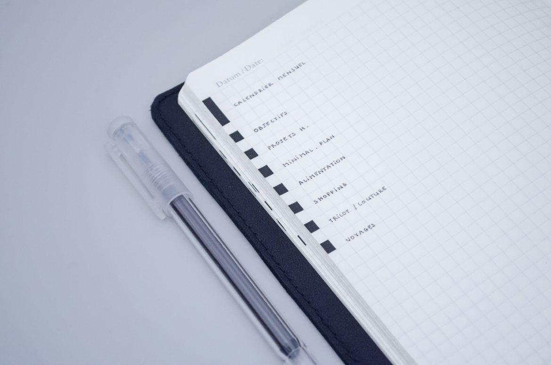 bullet journal edge indexing key