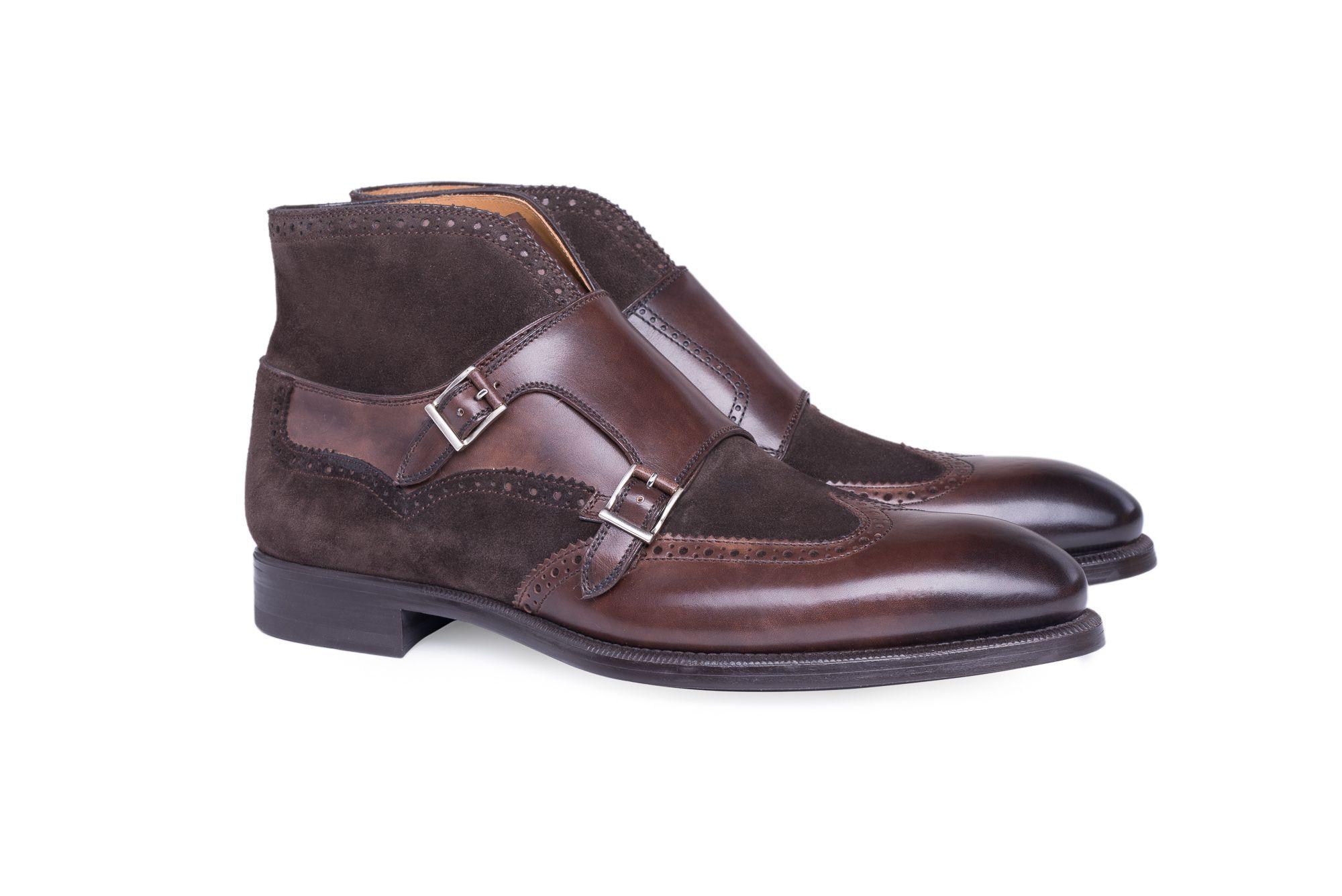 e12127d6b1f3 Extravagantní kotníčkové full brogue double monk shoes