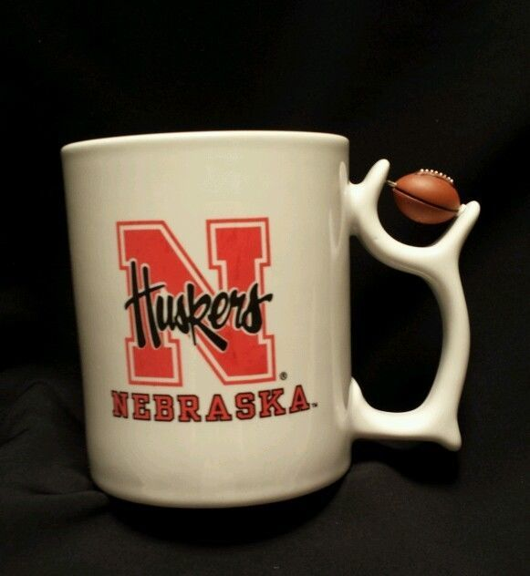 Nebraska Huskers Football Spinner on Handle  Coffee Tea Mug White EUC #Huskers
