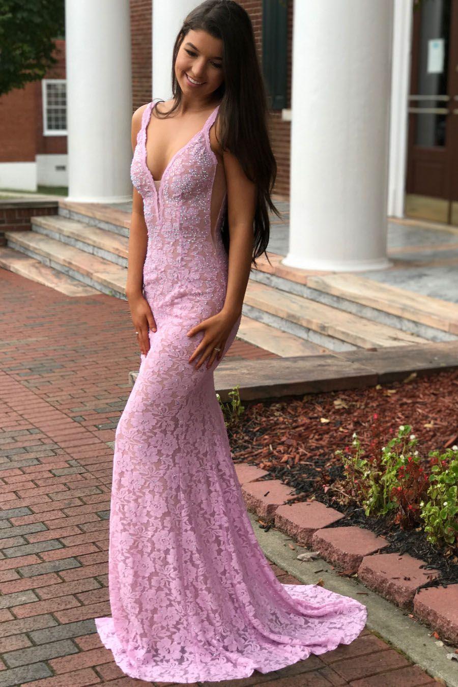 Elegant mermaid pink lace long prom dress prom wear pinterest