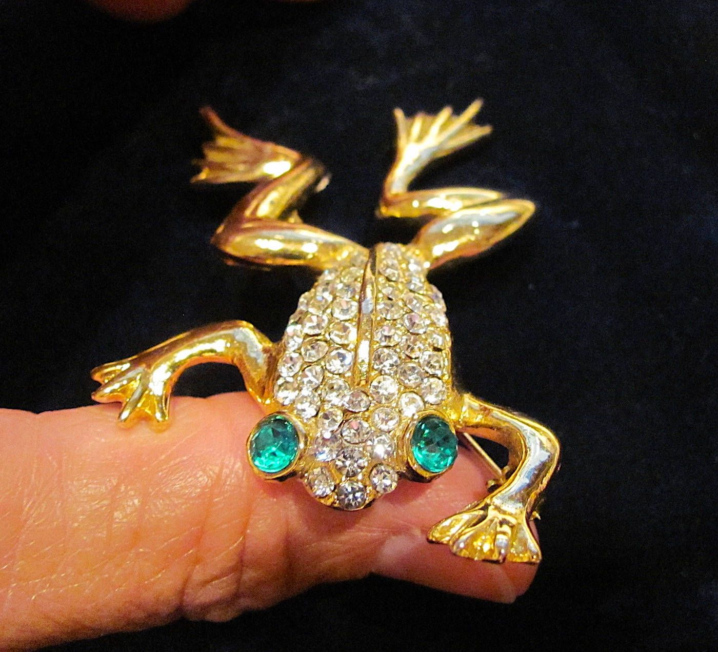 179dd8310 Vintage Clear Swarovski Crystals Green Rhinestones Polished Gold Tone Large  Figural Frog Brooch Pin Women's Costume Jewelry Unsigned Beauty by ...