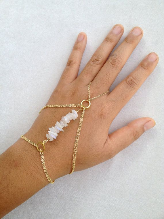Gold Hand Chain with Moonstone on Etsy, $45.00