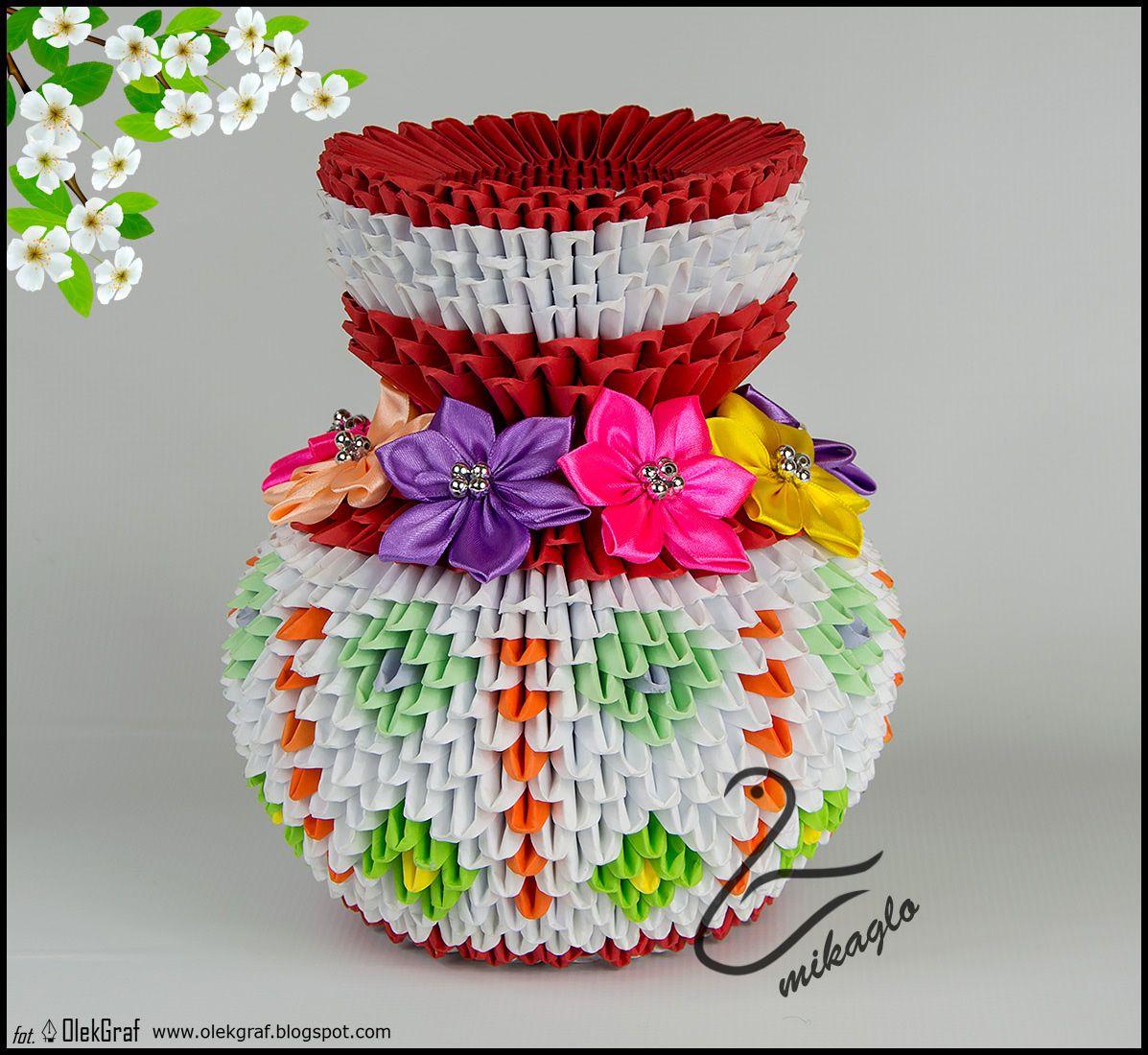 Vase 3d Origami Diagram: Origami 3d Flower Vase Tutorial: Mikaglo.blogspot.com