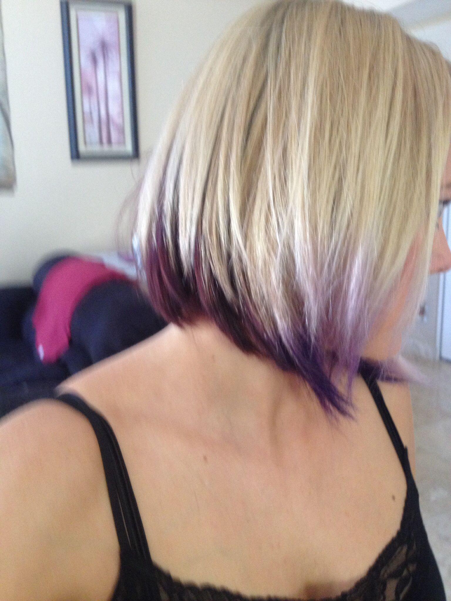 Inverted Bob With Dark Purple To Bright Purple Tips Purple Hair